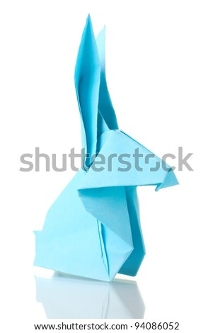 Origami rabbit  out of the blue paper isolated on white - stock photo