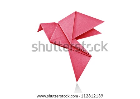 Origami red paper bird on white background. - stock photo
