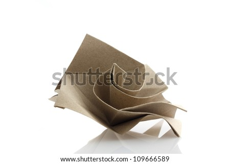 Origami rose flower by recycle papercraft - stock photo