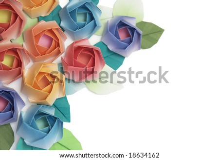 Origami roses decoration on a white background - stock photo