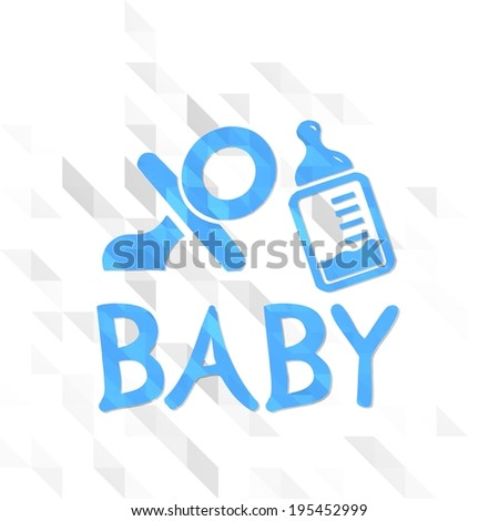 origami sign low poly of baby isolated on trendy white triangle background  - stock photo