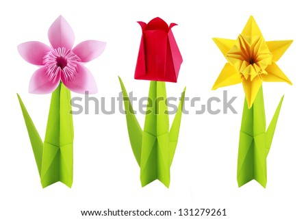 Origami spring flowers set on a white background - stock photo