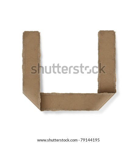 origami style alphabet letters. high resolution on white background. u - stock photo