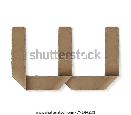 origami style alphabet letters. high resolution on white background. w - stock photo