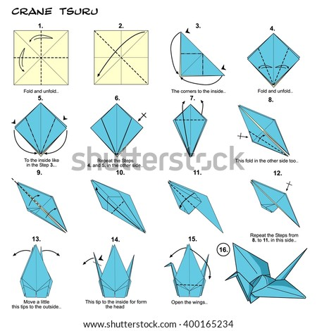 Origami Traditional Japan Crane Tsuru Diagram Instructions Step By Paperfolding Art