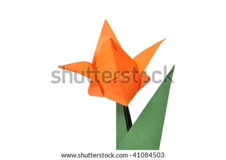 Origami tulip over white