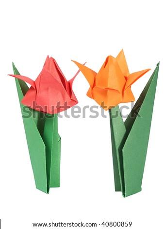 Origami tulips over white - stock photo
