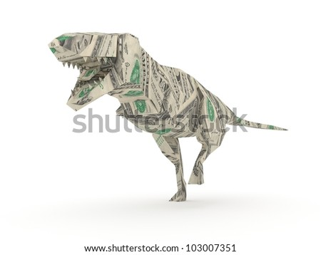 Origami Tyrannosaurus Rex Model Made From Dollar Bills