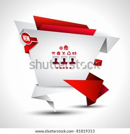 Origami Website - Elegant Design for Business Presentations. Template with a lot of design elements. - stock photo
