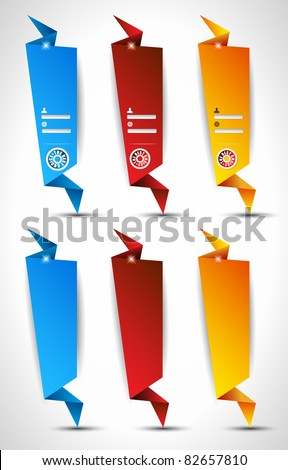 Origami Website vertical login form panels or banner to use for original style template designs for business elegant presentation. - stock photo