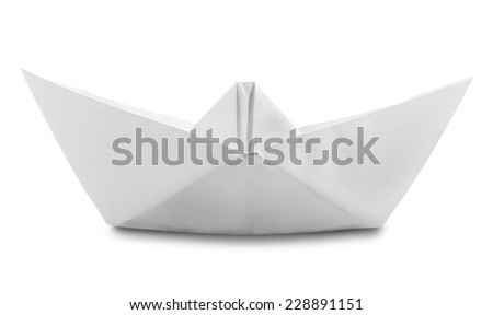 Origami White Paper Boat Isolated on White Background. Clipping Path