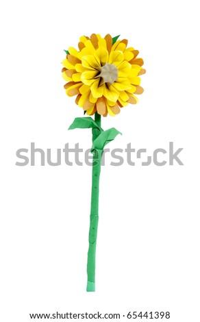 Origami yellow flower over white - stock photo
