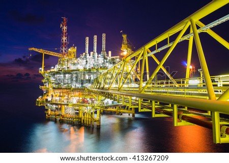 Origin of world energy and petrochemical, Oil and gas processing platform produced gas and crud oil, condensate and sent to onshore refinery. - stock photo