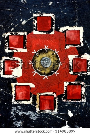 Original Abstract Grunge Mandala Painting in Red and Black - stock photo