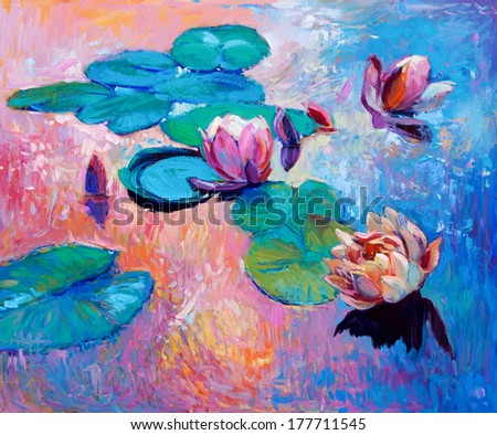 Original abstract oil painting of  beautiful water lilies.Modern Impressionism. - stock photo