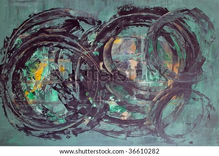 original abstract oil painting on canvas for giclee, background or concept. - stock photo
