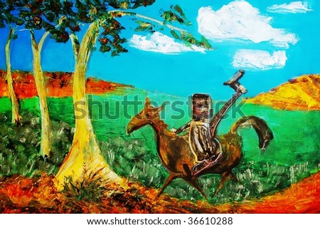 original abstract oil painting on canvas for giclee, background or concept. famous bushranger ned kelly on horse - stock photo