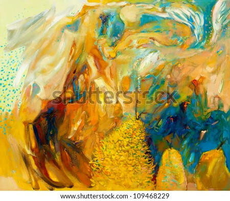 Original abstract oil painting on canvas.Modern impressionism - stock photo