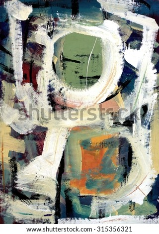 Original Abstract Painting in Sage Green and Salmon - stock photo