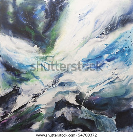 Original acrylic abstract painting in blues and white representing movement of waves. Painted by the photographer. - stock photo