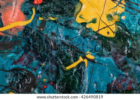 original acrylic  painting fragment on wood. Hand painted abstract grunge background.  Colorful texture. modern art, contemporary art. Mixed media. Avant-garde art. Stains, spray paint. Closeup
