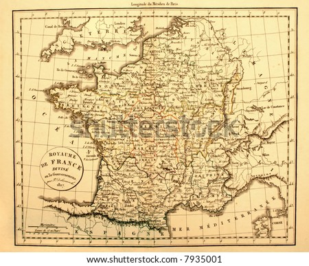 Original Antique Map of France Printed in 1827. - stock photo