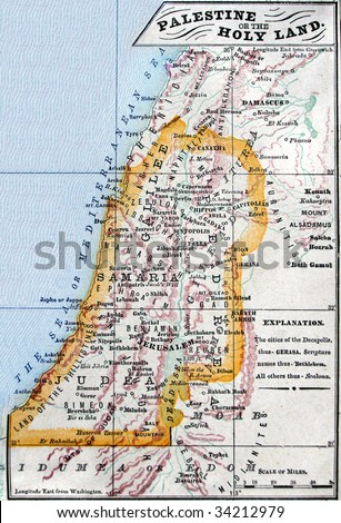Original antique map of Israel, line-colored, dated 1889.
