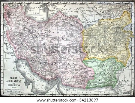 Original antique map of the Middle East, hand-colored, dated 1889. - stock photo