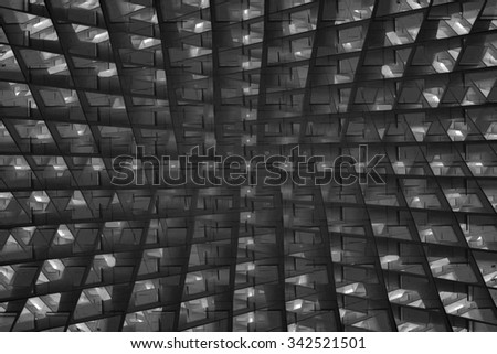 Original architectural or engineering sketch of building with pseudo-fractal cellular structure. Futuristic or contemporary architecture. Abstract black and white industrial or technology background. - stock photo