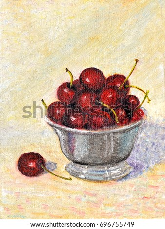 original art, acrylic painting of bowl of cherries