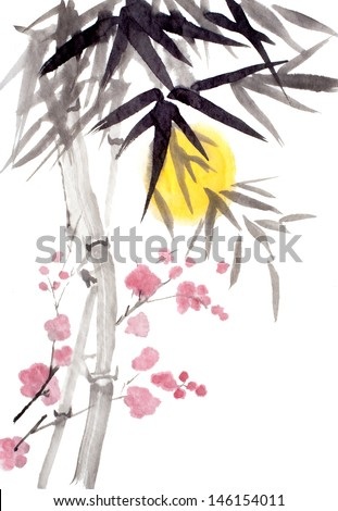 original art, bamboo and blooming plum tree with sun - stock photo