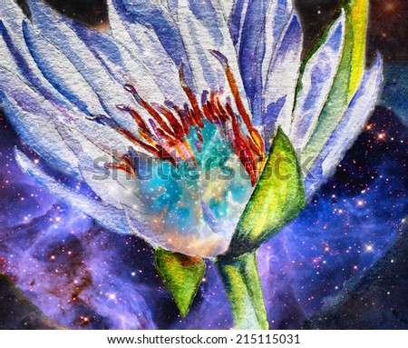 original art, cosmic lily, mixed media on canvass - stock photo
