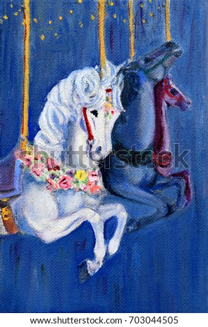Original art, painting of carousel horses