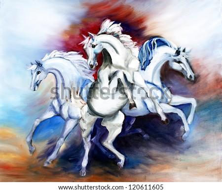 original art, painting of three white horses to represent power - stock photo