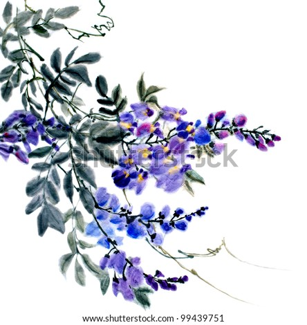 original art, watercolor oriental style painting of plum blossoms on vine - stock photo