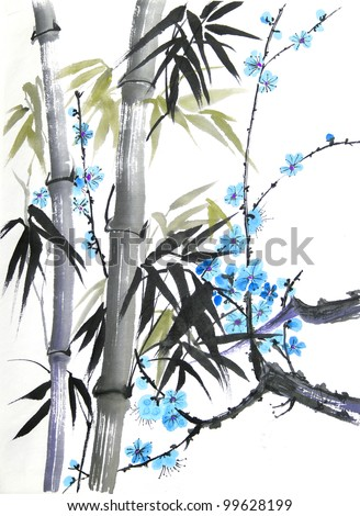 original art, watercolor painting of bamboo and blossoms in oriental style - stock photo