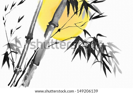 original art, watercolor painting of bamboo, Chinese style painting - stock photo