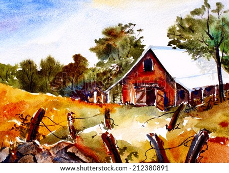 original art, watercolor painting of barn in fall - stock photo