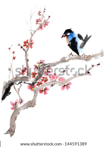 original art, watercolor painting of blue bird on blooming cherry tree - stock photo