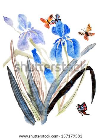 original art, watercolor painting of blue iris and butterflies - stock photo