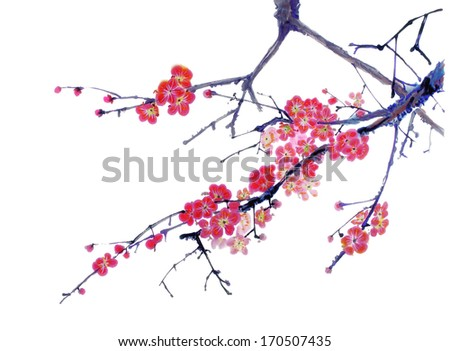 original art, watercolor painting of cherry tree branch in bloom - stock photo