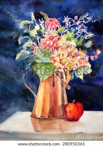 Original art, watercolor painting of copper coffee pot filled with flowers - stock photo