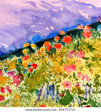 original art, watercolor painting of field of flowers
