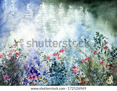 original art, watercolor painting of flowers near lake - stock photo