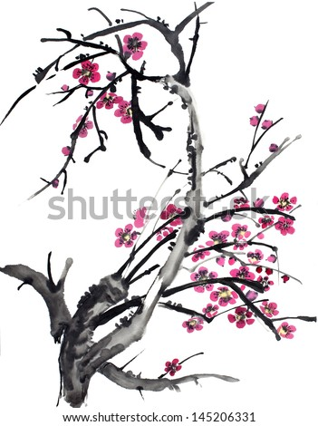 original art, watercolor painting of graceful cherry tree branch in full bloom, traditional style - stock photo