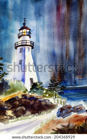 original art, watercolor painting of lighthouse at night, concept of guidance, protection - stock photo