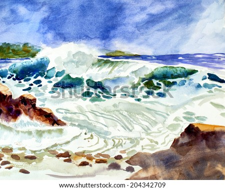 original art, watercolor painting of ocean waves and sky - stock photo