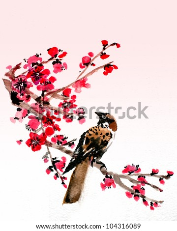 original art, watercolor painting of oriental style bird with blossoms - stock photo