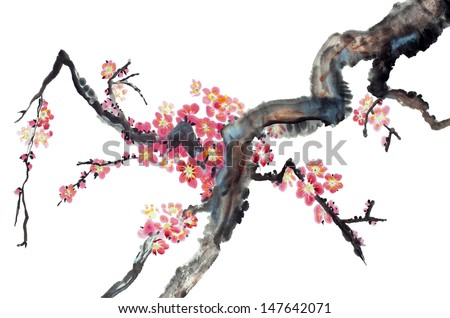 original art, watercolor painting of plum tree branch in bloom - stock photo