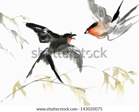 original art, watercolor painting of red-breasted birds and branches in Asian style - stock photo